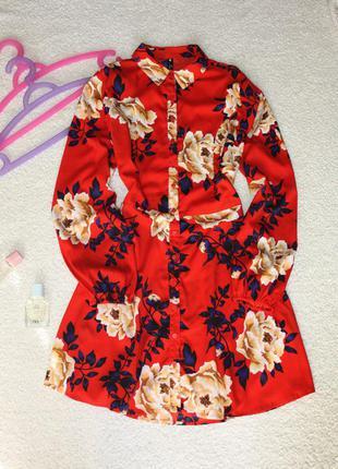Милое платье в цветы. платье - рубашка . платье халат1 фото