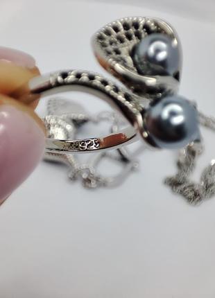 Неперевершений набір із срібла s925, з куб.цирконіями та перлами5 фото