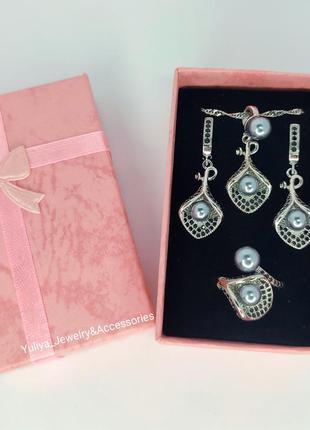 Неперевершений набір із срібла s925, з куб.цирконіями та перлами3 фото