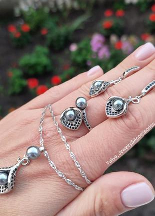 Неперевершений набір із срібла s925, з куб.цирконіями та перлами2 фото