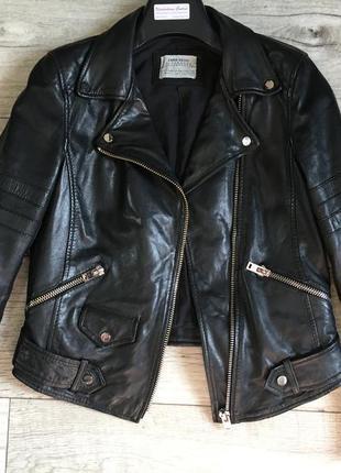 Куртка косуха женская с zara натур.кожа4 фото