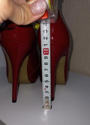 Кожаные стильные лаковые очень удобные туфли красного цвета ❤️4 фото