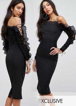 Распродажа облегающее платье missguided миди с открытыми плечами и оборками с asos1 фото