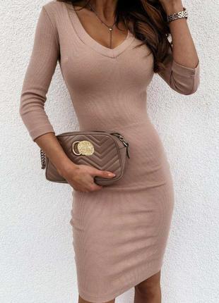Базовое платье в рубчик (в расцветках)рр42-481 фото