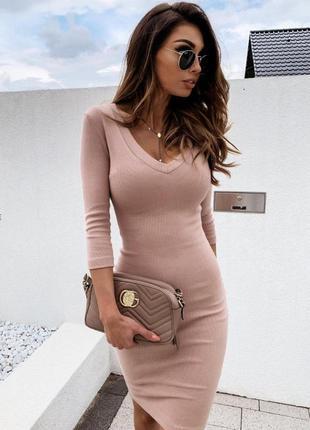 Базовое платье в рубчик (в расцветках)рр42-482 фото