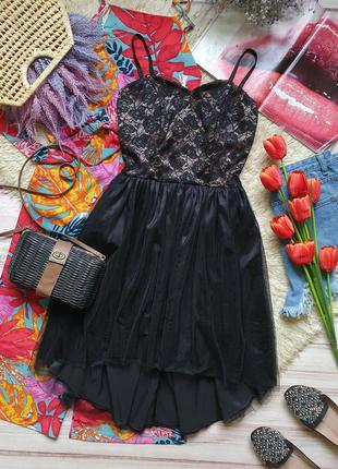 Вечернее фатиновое кружевное платье на тонких бретелях1 фото