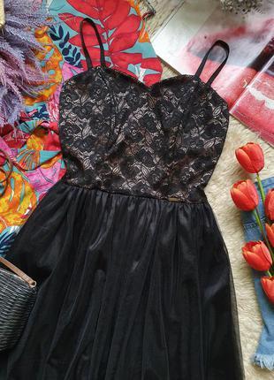 Вечернее фатиновое кружевное платье на тонких бретелях2 фото