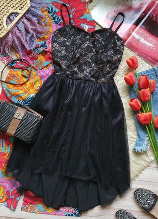 Вечернее фатиновое кружевное платье на тонких бретелях6 фото