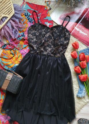 Вечернее фатиновое кружевное платье на тонких бретелях8 фото