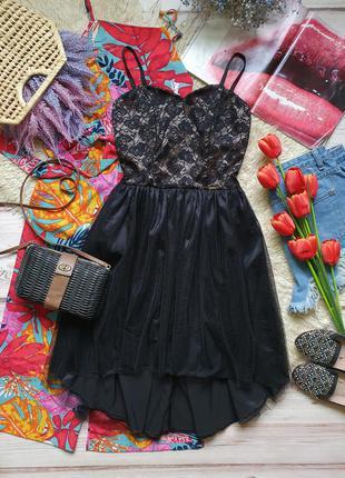 Вечернее фатиновое кружевное платье на тонких бретелях9 фото