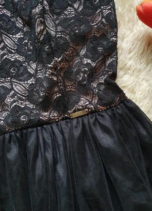 Вечернее фатиновое кружевное платье на тонких бретелях4 фото