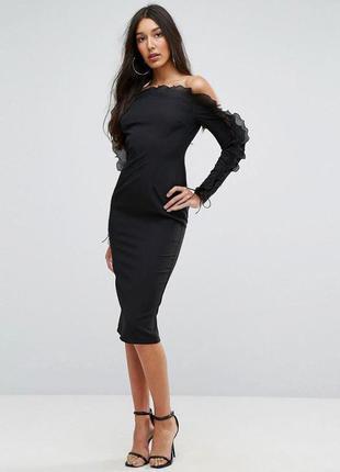 Распродажа облегающее платье missguided миди с открытыми плечами и оборками с asos2 фото