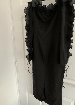 Распродажа облегающее платье missguided миди с открытыми плечами и оборками с asos5 фото