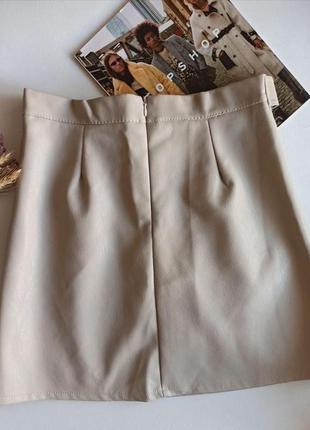 Женская кожаная юбка стильная светло-бежевая2 фото