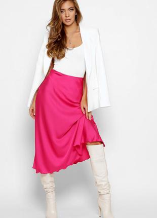 Шелковая юбка миди малиновая фуксия розовая1 фото