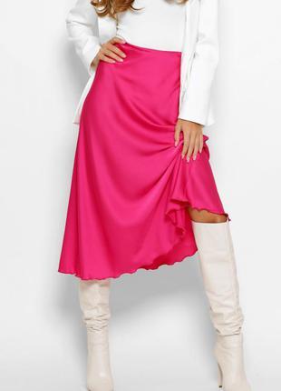 Шелковая юбка миди малиновая фуксия розовая2 фото
