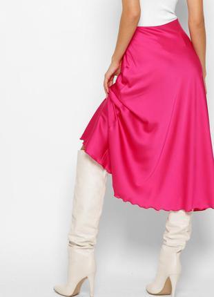 Шелковая юбка миди малиновая фуксия розовая3 фото