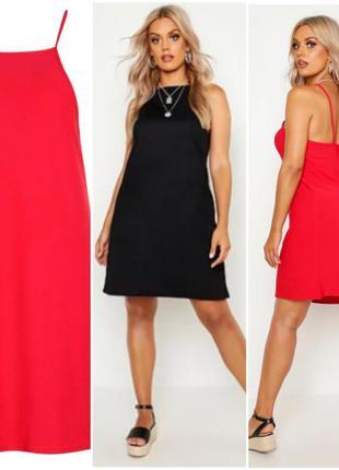 Черный сарафан, платье на бретелях от boohoo большой размер1 фото