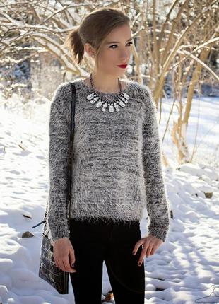 Пушистый теплый мягкий свитер травка h&m