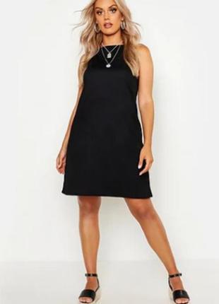 Черный сарафан, платье на бретелях от boohoo большой размер2 фото