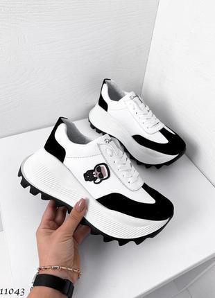 Новые женские кожаные кроссовки натуральная кожа белые с черным1 фото