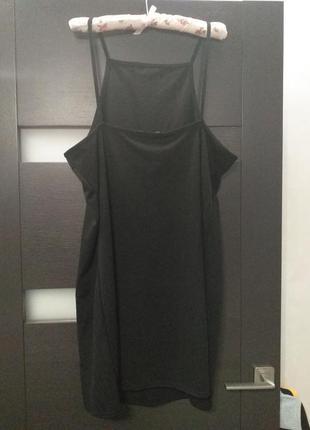 Черный сарафан, платье на бретелях от boohoo большой размер8 фото