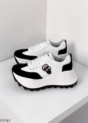Новые женские кожаные кроссовки натуральная кожа белые с черным2 фото