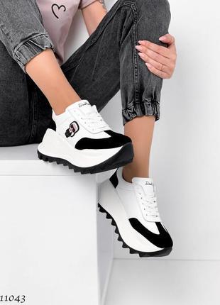 Новые женские кожаные кроссовки натуральная кожа белые с черным3 фото