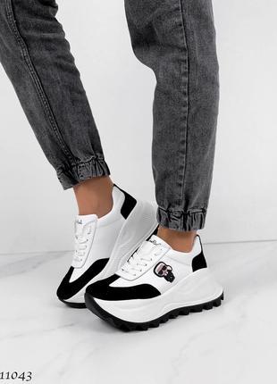Новые женские кожаные кроссовки натуральная кожа белые с черным5 фото