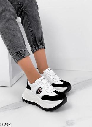 Новые женские кожаные кроссовки натуральная кожа белые с черным4 фото