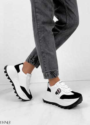 Новые женские кожаные кроссовки натуральная кожа белые с черным6 фото