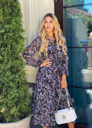 Новое женское шифоновое платье миди в цветочный принт3 фото