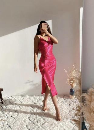 Платье zara миди сатиновое бельевое2 фото