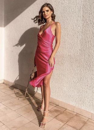 Платье zara миди сатиновое бельевое1 фото