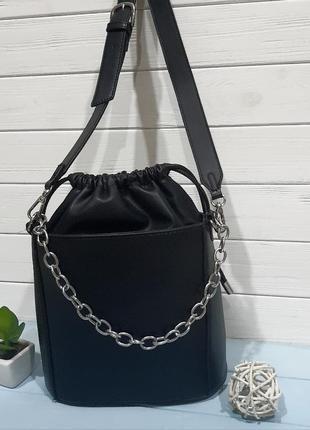 Стильная сумка-ведро с мешочком внутри, италия9 фото