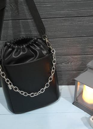Стильная сумка-ведро с мешочком внутри, италия1 фото