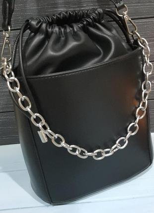 Стильная сумка-ведро с мешочком внутри, италия2 фото