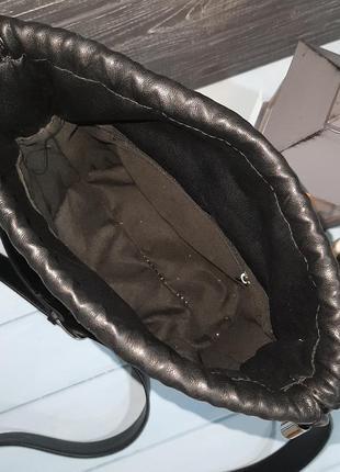 Стильная сумка-ведро с мешочком внутри, италия5 фото