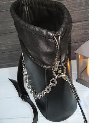 Стильная сумка-ведро с мешочком внутри, италия6 фото