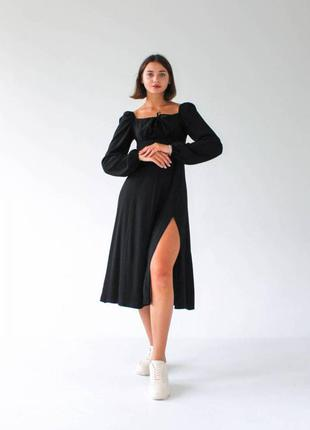 """Платье """"сорренто"""" с разрезом и длинным рукавом2 фото"""