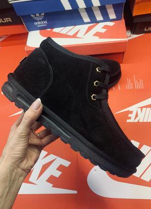 Зимние мужские дутики ботинки угги на шнуровке низкие угги ботиночки замш