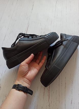 Кожаные черные кеды5 фото