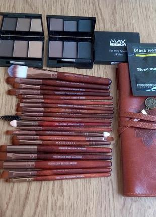 Комплект 3в1. фирменный набор кистей для макияжа maange 20 штук+чехол+тени