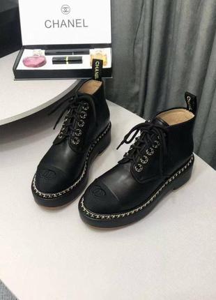 Ботинки осенние черные кожаные ш*анель размер 37-40