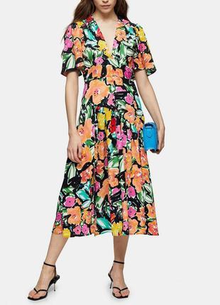 Распродажа натуральное платье topshop миди в стиле колор блок asos8 фото