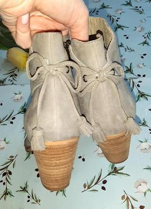 🎁1+1=3 серые кожаные полусапожки на каблуке mint velvet, натуральная кожа, 39 размер4 фото
