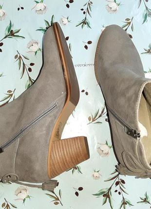 🎁1+1=3 серые кожаные полусапожки на каблуке mint velvet, натуральная кожа, 39 размер6 фото