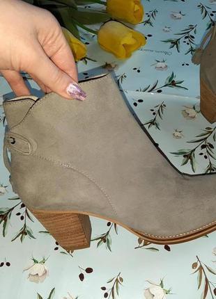 🎁1+1=3 серые кожаные полусапожки на каблуке mint velvet, натуральная кожа, 39 размер7 фото