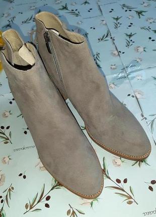 🎁1+1=3 серые кожаные полусапожки на каблуке mint velvet, натуральная кожа, 39 размер3 фото