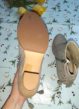 🎁1+1=3 серые кожаные полусапожки на каблуке mint velvet, натуральная кожа, 39 размер9 фото